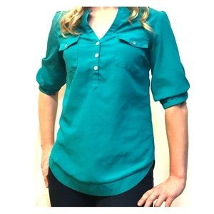 Teal blouse from stitch fix 3 quarter sleeves.